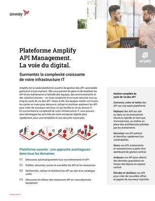Plateforme Amplify  API Management.  La voie du digital.