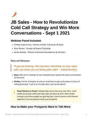 JB Sales - How to Revolutionize Cold Call Strategy and Win More Conversations - Sept 1 2021
