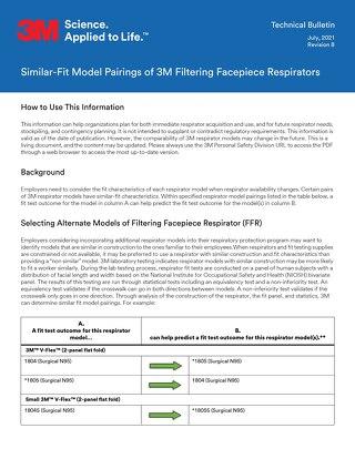 Similar-fit model pairings of 3M filtering facepiece respirators