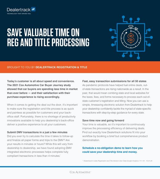 Save Valuable Time on Reg & Title Processing