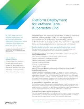 Platform Deployment for VMware Tanzu Kubernetes Grid