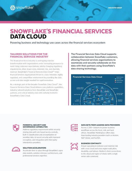 Snowflake's Financial Services Data Cloud