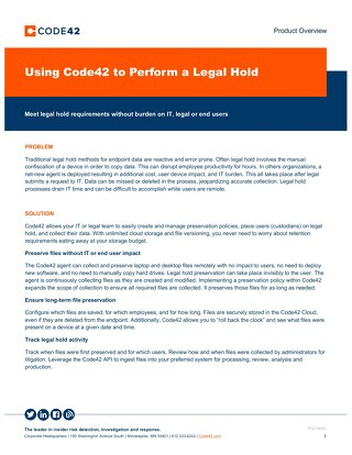 Using Code42 to Perform a Legal Hold