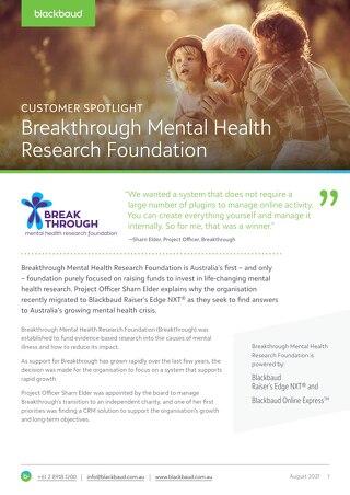Customer Spotlight: Breakthrough Mental Health Research Foundation