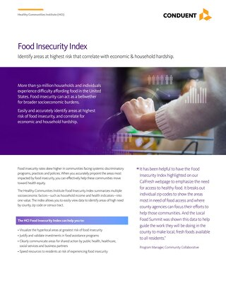 Food Insecurity Index: Identify areas at highest risk that correlate with economic & household hardship