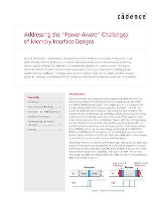 """Addressing the """"Power-Aware"""" Challenges of Memory Interface Designs"""