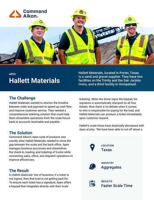Apex Hallett Materials Case Study