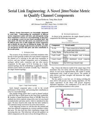 Serial Link Engineering: A Novel Jitter/Noise Metric to Qualify Channel Components