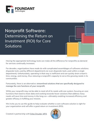 Nonprofit Software: Determining the Return on Investment (ROI) for Core Solutions