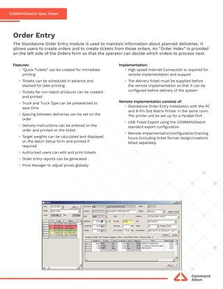 COMMANDbatch Order Entry Spec