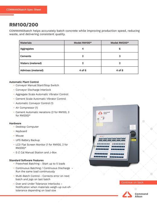 COMMANDbatch RM100200 Spec