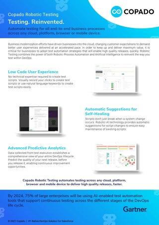 Copado Robotic Testing: #1 Software Test Tool for Salesforce