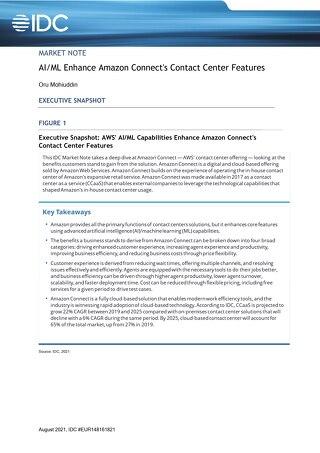 IDC CCaaS report - AI:ML Enhance Amazon Connect's Contact Center Features