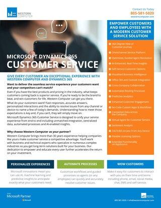 Dynamics 365 Customer Service Sale Sheet