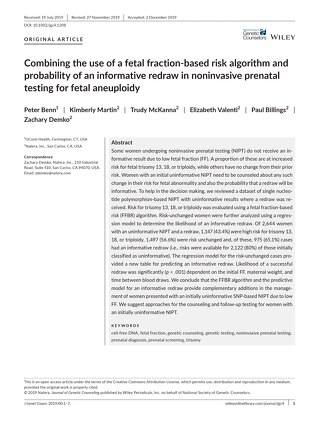 Combining the use of a fetal fraction based risk algorithm and probability of an informative redraw in noninvasive prenatal testing for feta