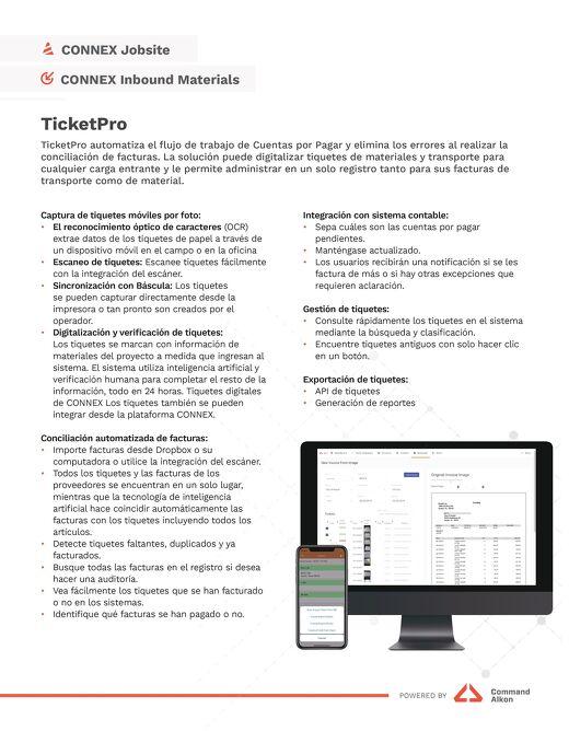 TicketPro Specs Spanish