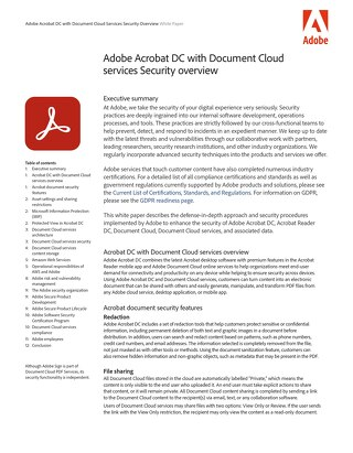 Adobe Acrobat DC with Document Cloud Services Security Overview