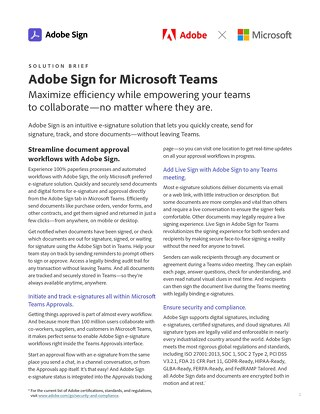 Adobe Sign for Microsoft Teams Solution Brief