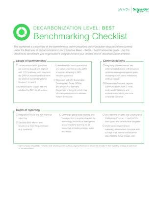 Best Decarbonization Benchmarking Checklist