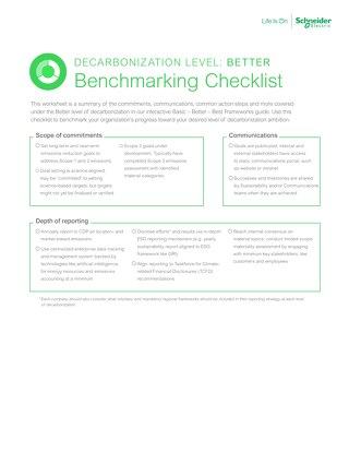 Better Decarbonization Benckmarking Checklist