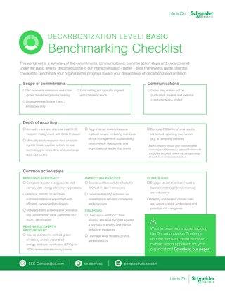 Basic Decarbonization Benchmarking Checklist
