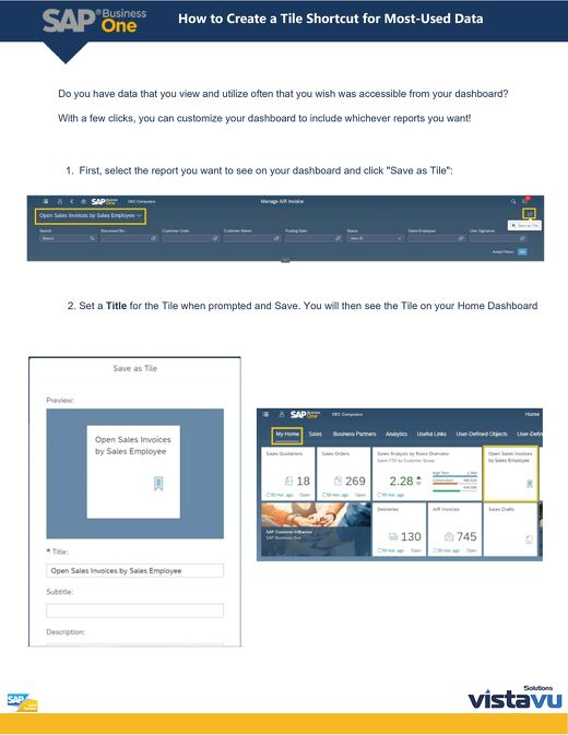SAP Business One: How to Set a Tile Shortcut