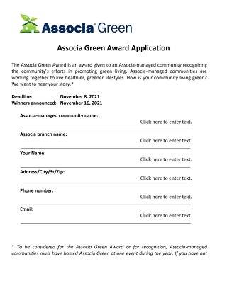 2021 Associa Green Award Application