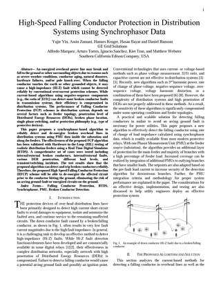 White Paper: High-Speed Falling Conductor Protection in Distribution Systems using Synchrophasor Data