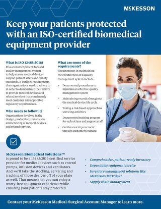 Keep your patients protected with an ISO-certified biomedical equipment provider