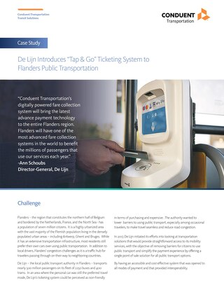 "De Lijn Introduces ""Tap & Go"" Ticketing System to Flanders Public Transportation"