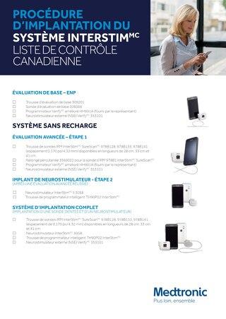 PROCÉDURE D'IMPLANTATION DU SYSTÈME INTERSTIM - LISTE DE CONTRÔLE CANADIENNE