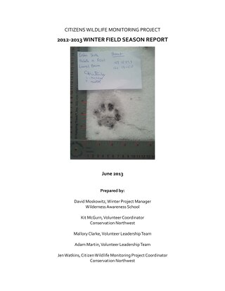 CWMP 2012-2013 Winter Field Season Report