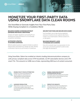 Monetize Your First-Party Data Using Snowflake Data Clean Rooms