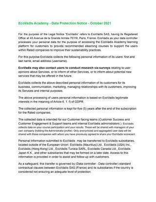 EcoVadis Academy Data Protection Notice