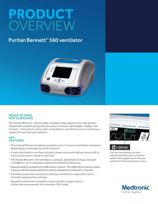 Puritan Bennett™ 560 ventilator - Overview