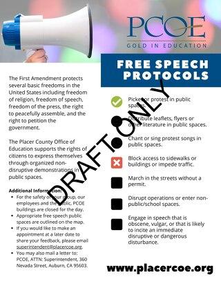PCOE Protest Free Speech Flyer