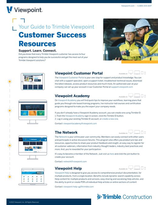 Trimble Viewpoint Customer Success Resources