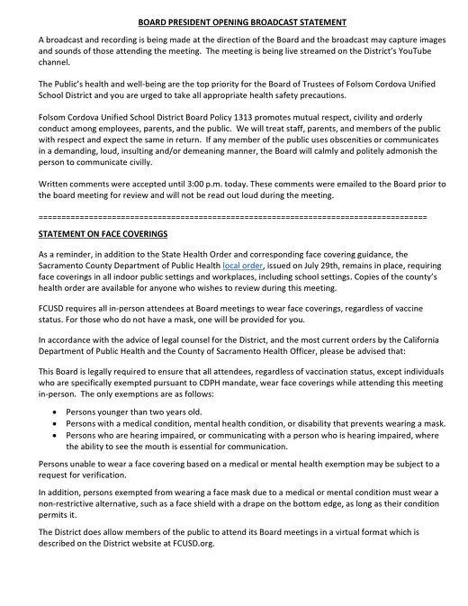 FCUSD Board President Opening Statement