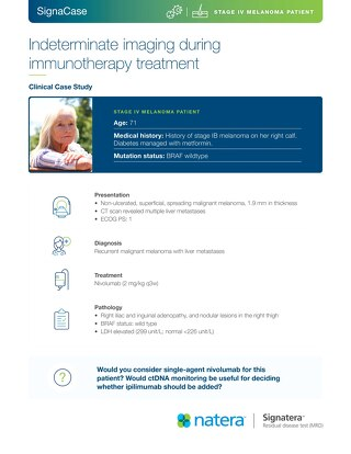 Indeterminate imaging during immunotherapy treatment