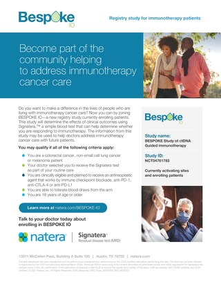 Become part of the community helping to address immunotherapy cancer care