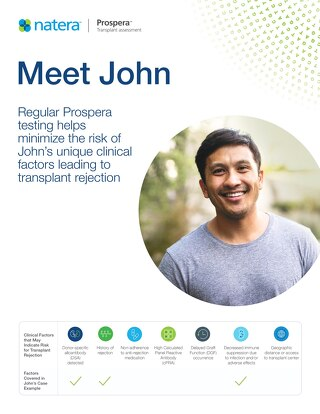 Regular Prospera testing helps minimize the risk of John's unique clinical factors leading to transplant rejection
