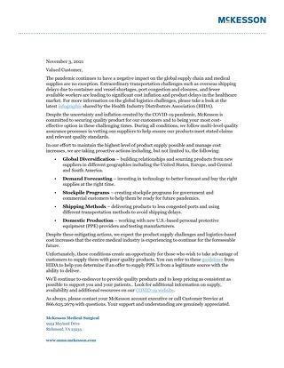 McKesson's response to supply chain disruptions
