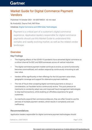 Market Guide for Digital Commerce Payment Vendors