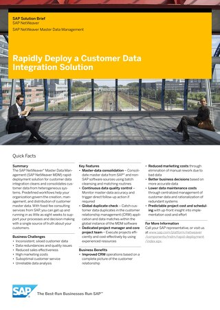 Rapidly Deploy a Customer Data Integration Solution