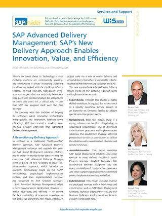 SAP Advanced Delivery Management - SAP's New Delivery Approach Enables Innovation, Value, and Efficiency