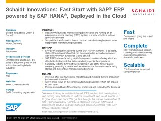 Schaidt Innovations: Fast start with SAP ERP powered by SAP HANA, Deployed in the Cloud