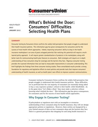 Consumer Difficulties Selecting Health Plans