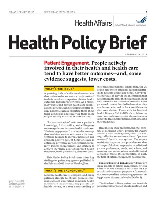 Health Policy Brief: Patient Engagement