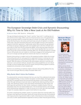 Article: Euro Debt and Dynamic Discounting