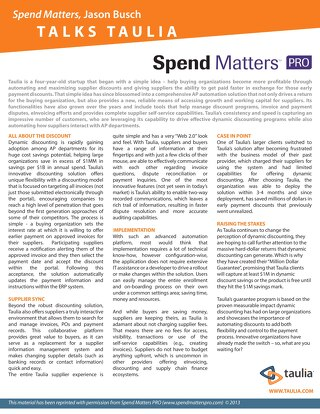 Article: Spend Matters Talks Taulia